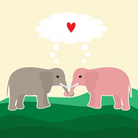 Vector card with elephant couple in love Vector