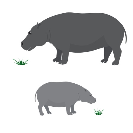 Vector image of big and little hippo