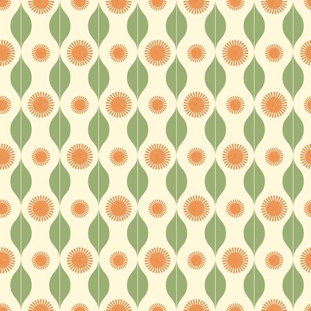 stripy: Seamless pattern with stripy sun and leaves ornament