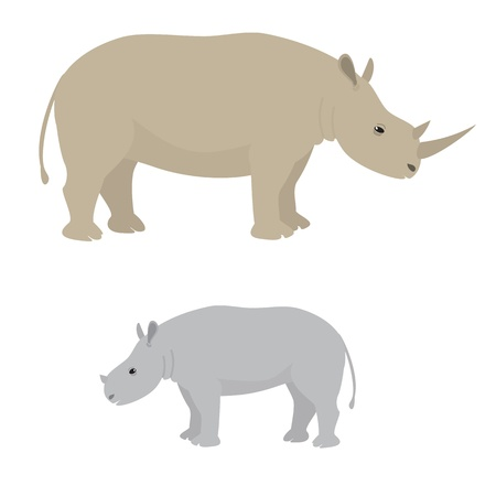 Illustration of big and little rhino Vector