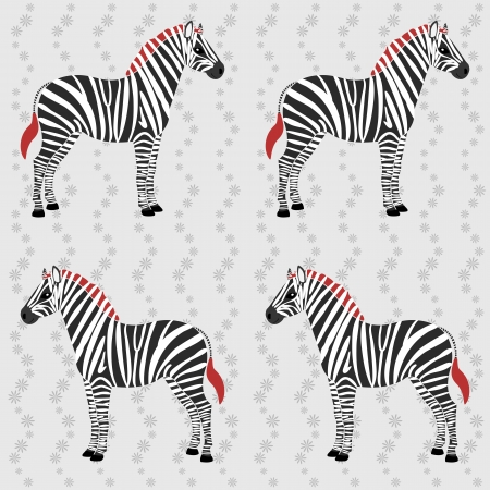 african grey: Seamless pattern with zebra and flower stripes Illustration