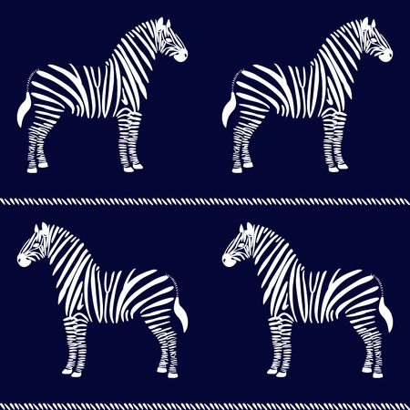 Seamless pattern with zebras and stripes Vector