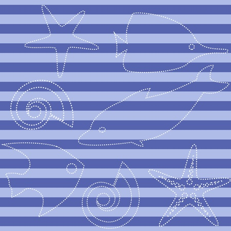 Striped seamless pattern with sea animals Vector