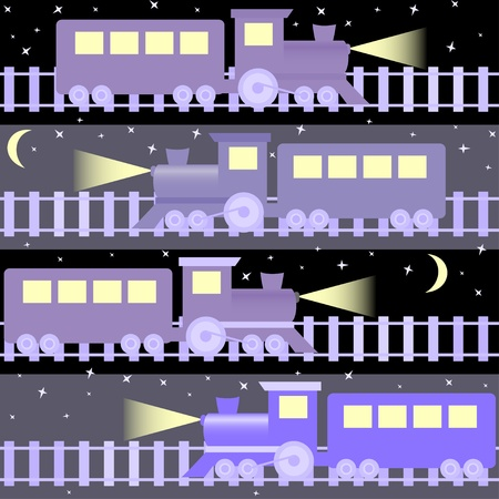 nightly: Cartoon seamless pattern with trains on night sky Illustration
