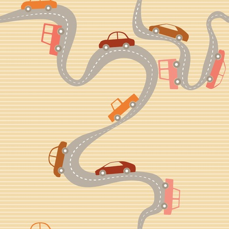 Stripy seamless pattern with road and cartoon cars
