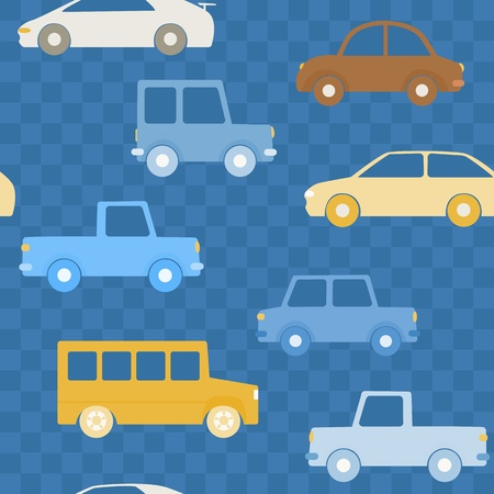 Seamless pattern with cars on chequered background Vector