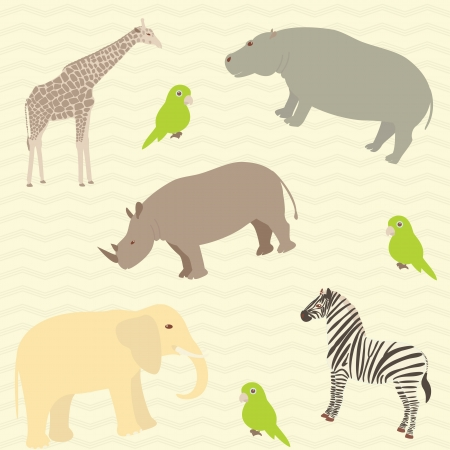 Seamless pattern with african animals on wavy background 일러스트