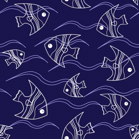 Seamless background with fish and waves on blue Vector