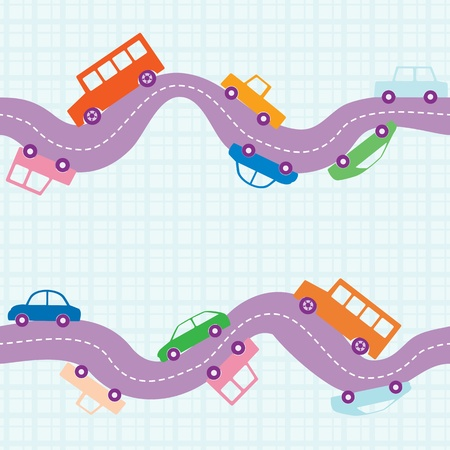 Seamless pattern with curvy road and cars Vector