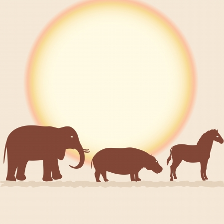 card with African animals silhouettes over sun Vector