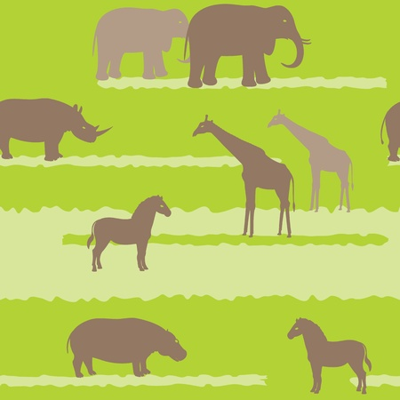 Seamless pattern with african animals silhouettes Vector