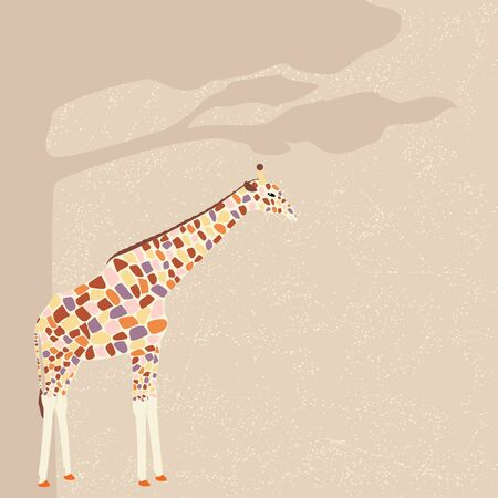 Colorful giraffe under the tree  Vector