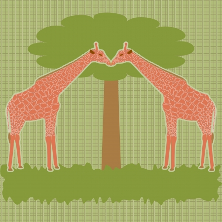 card with two giraffes near tree Vector