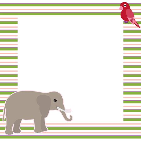 Greeting card with elephant and parrot in stripy frame Vector