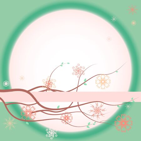 Green greeting card with blooming branches Stock Vector - 19338403