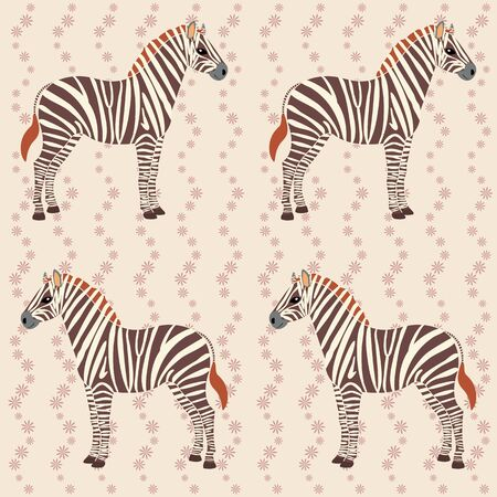 Seamless pattern with zebras and flower stripes Vector