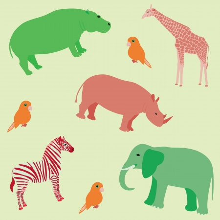 Seamless colorful pattern with african animals Vector