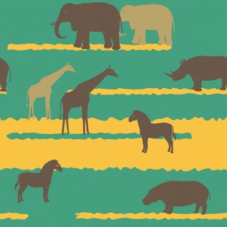 animales de la selva: Patr?ransparente con siluetas de animales africanos