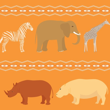 stripy: Seamless pattern with african animals and stripy ornament