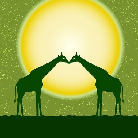 card with two giraffe silhouettes over sun Vector