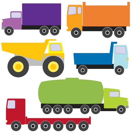 dump truck: Colorful collection of different trucks Illustration