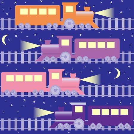 Cartoon seamless pattern with trains on night sky Illustration