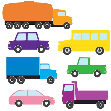 Collection of colorful truck and car icons Vector