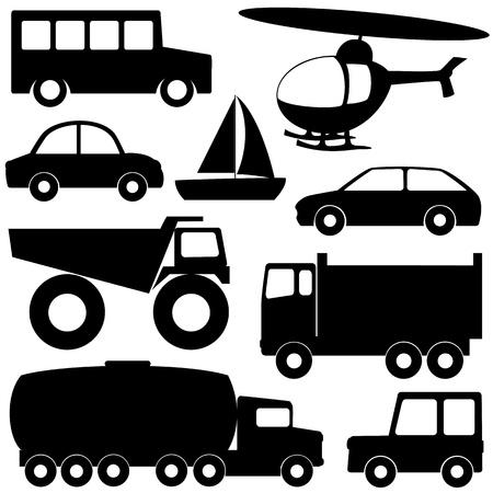 camion volteo: Set 2 de diferentes siluetas de transporte aislados en blanco Vectores