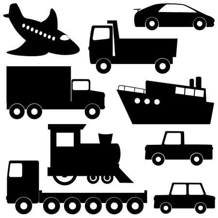flatbed truck: Set 1 of different transport silhouettes isolated on white