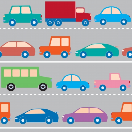 Seamless pattern with cars and trucks on the road Vector