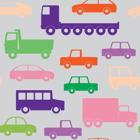 flatbed truck: Seamless pattern with cars and trucks