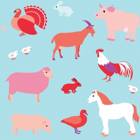 Colorful seamless pattern with farm animals