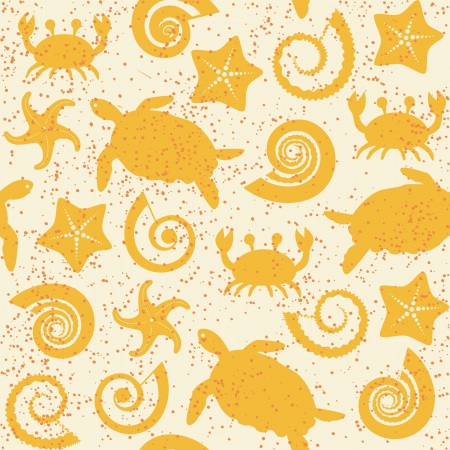 Seamless pattern with turtles, crabs, stars and shells