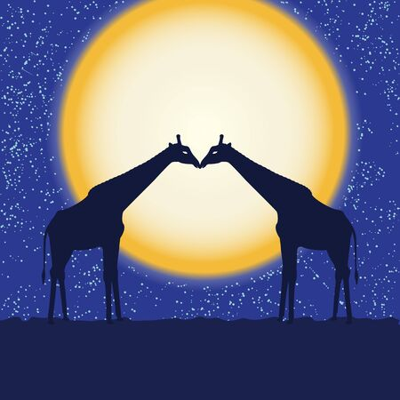 Card with two giraffe silhouettes over moon Vector