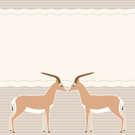 Card with two gazelles and place for text Vector