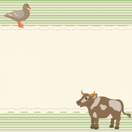 Rural style card with cow and goose