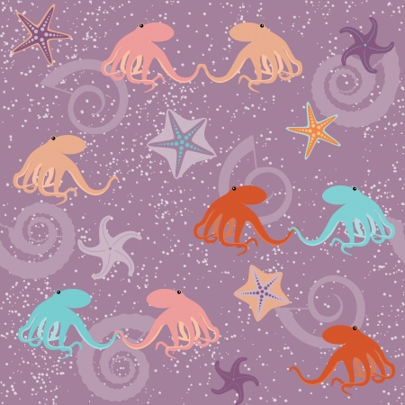 seastar: Seamless pattern with octopuses, shells and stars Illustration
