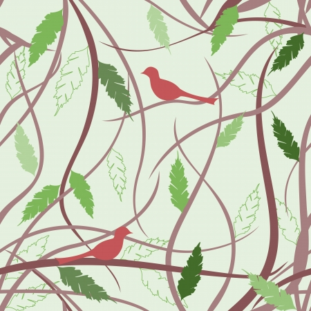 Eastern seamless pattern with branches and leaves