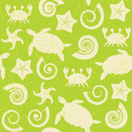 Seamless pattern with turtles, crabs, stars and shells Vector
