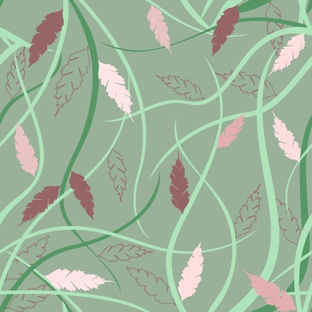 Japanese style seamless pattern with branches and leaves Vector