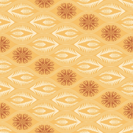 Golden floral seamless pattern in japanese style Vector