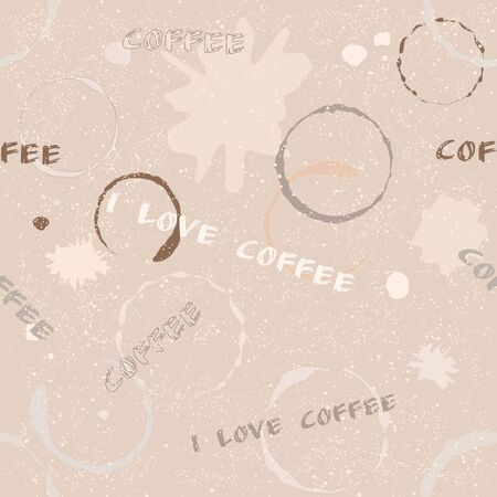 Grunge seamless pattern with coffee stains, blots and text Vector