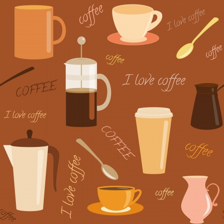 Seamless pattern with coffee related elements and text