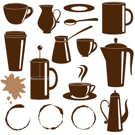 Coffee and tea items silhouettes collection Illustration