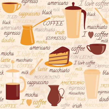 Seamless pattern with coffee items and colorful text