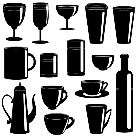Set of cups and glasses silhouettes isolated on white Vector