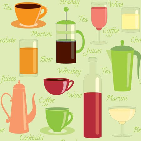 Seamless pattern with different drinks and text