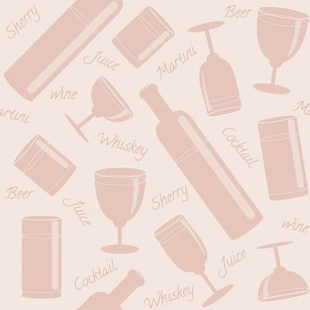 tipple: Seamless pattern with glasses, bottles and text Illustration
