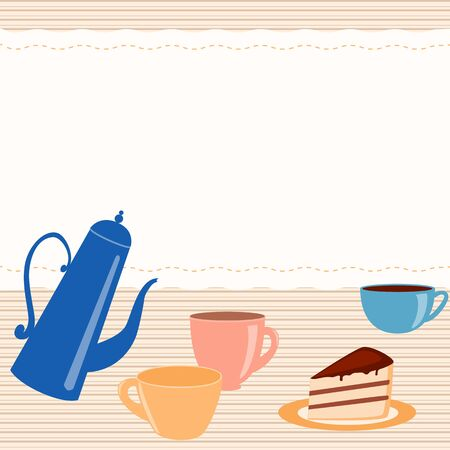Greeting card with teapot, cups and place for text Illustration