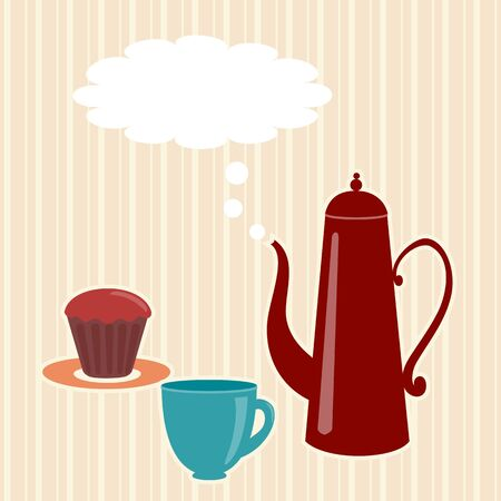 teatime: Greeting card with teapot and speech bubble Illustration